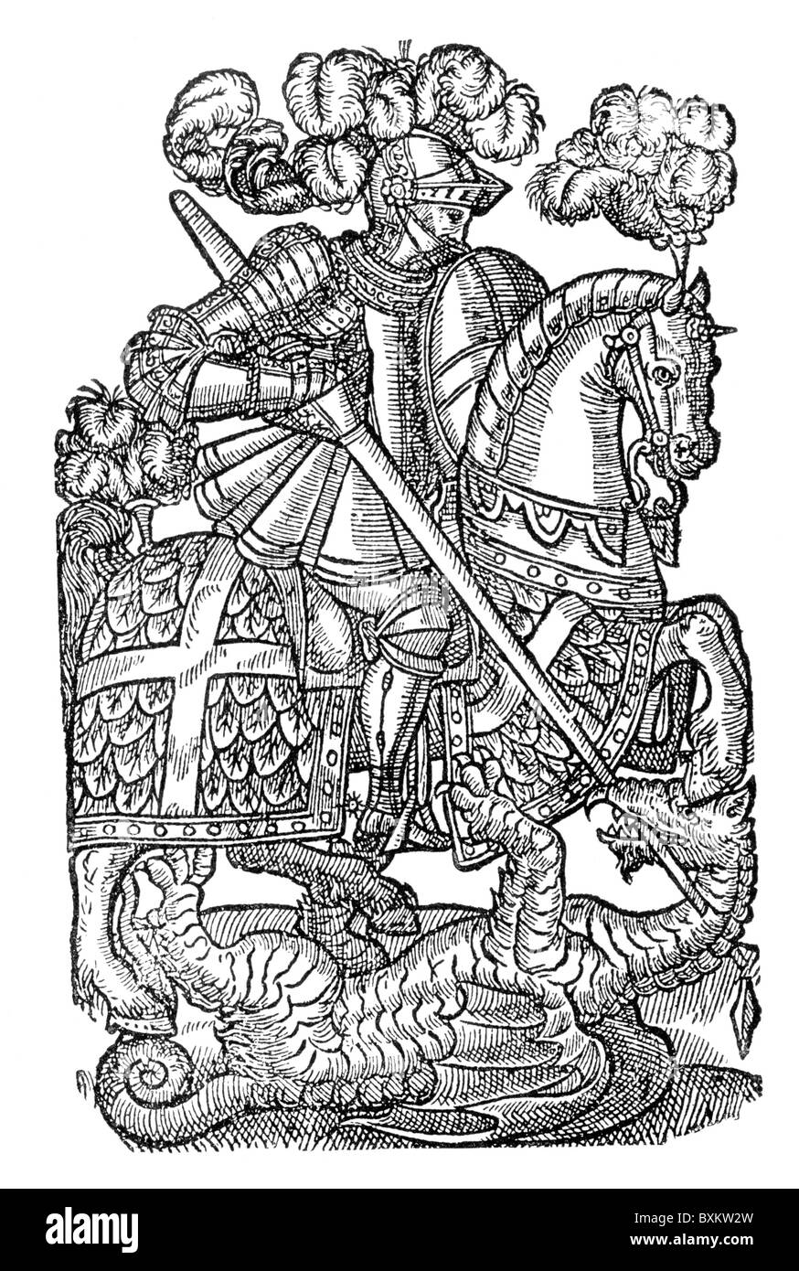 The Red Cross Knight; Illustration from Edmund Spenser's Poem 'The Faerie Queen', 1598; Black and White - Stock Image