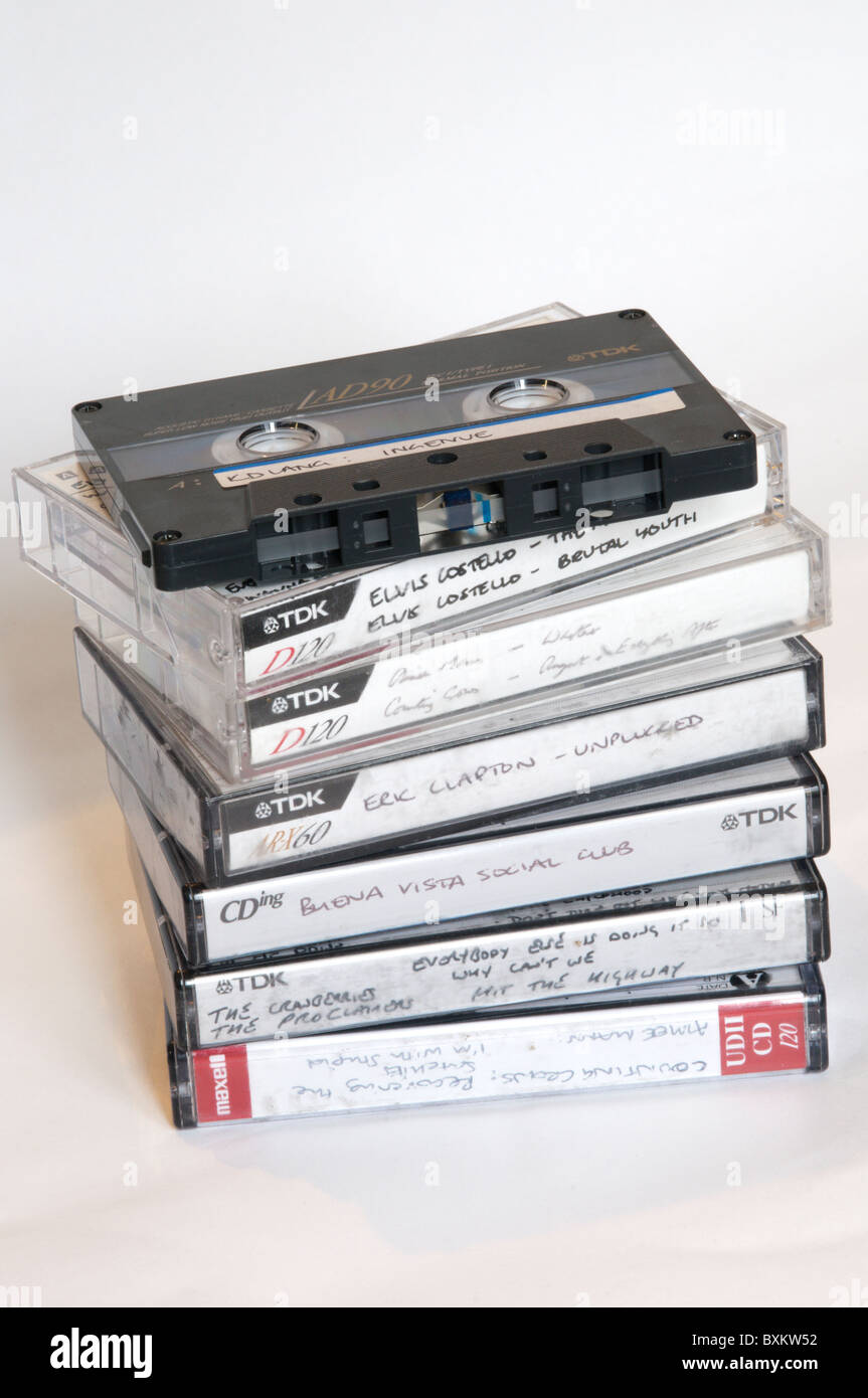 A stack of home recorded cassette tapes - Stock Image