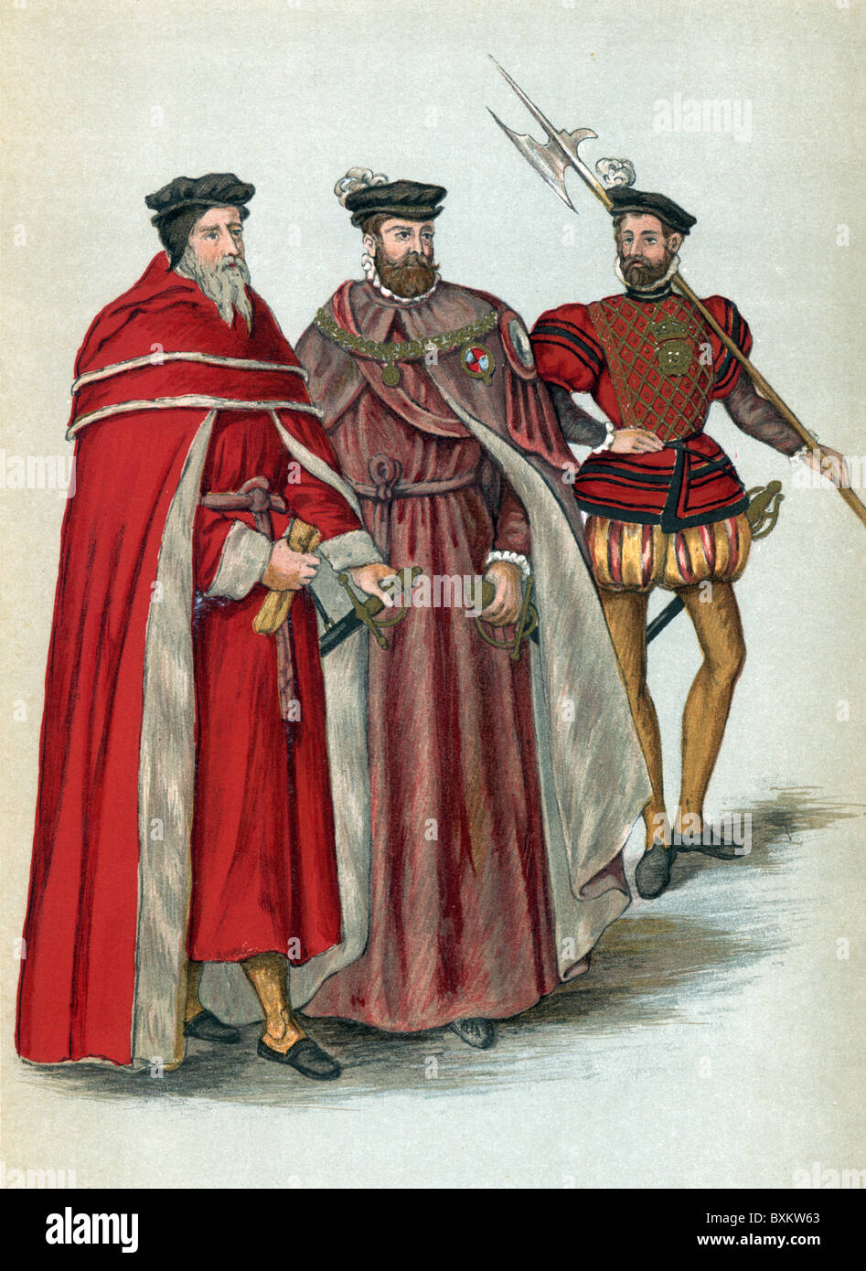 Two Peers in their Robes and a Halberdier, 16th century England; Black and White Illustration; - Stock Image