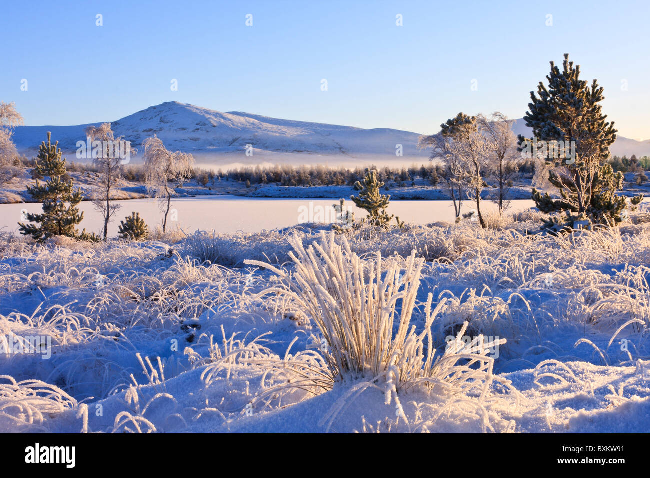 snow covered landscape on the isle of Lewis, Scotland - Stock Image
