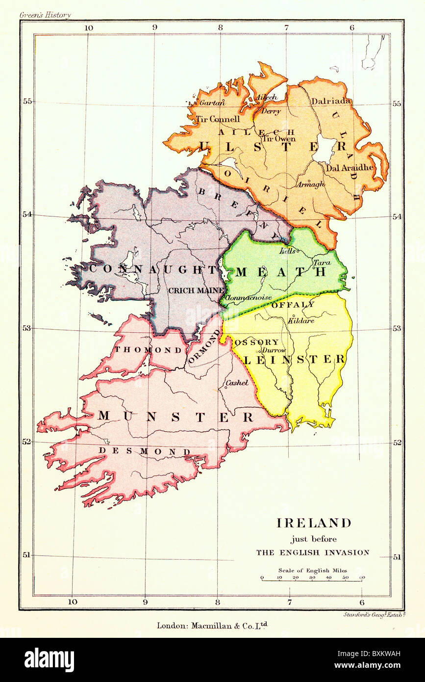 A Map of the five Irish Provinces prior to the Nine Years' war between 1594 and 1603; Colour  Illustration; - Stock Image