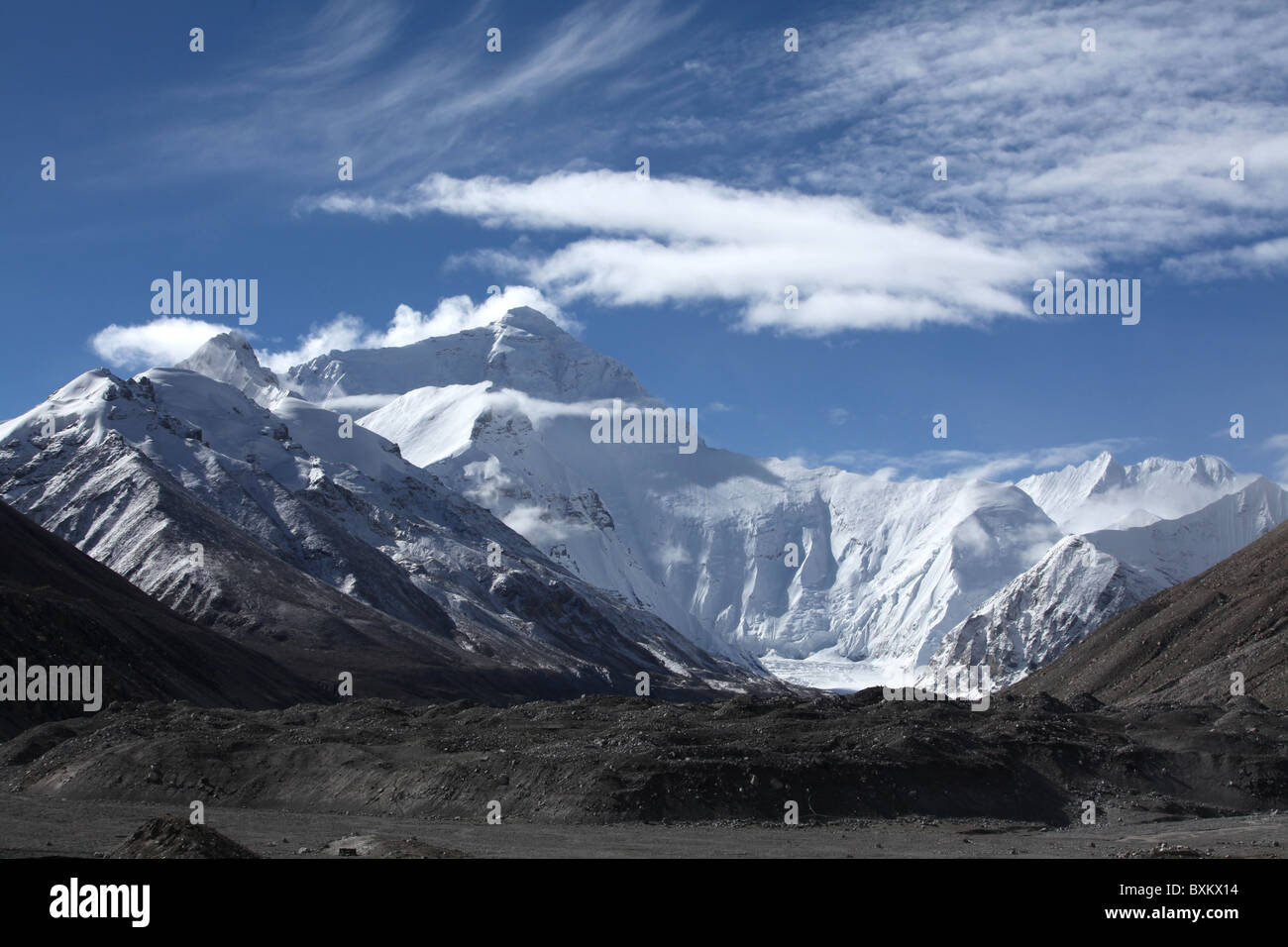 A view of the north face of Everest from base camp in Tibet, China. - Stock Image