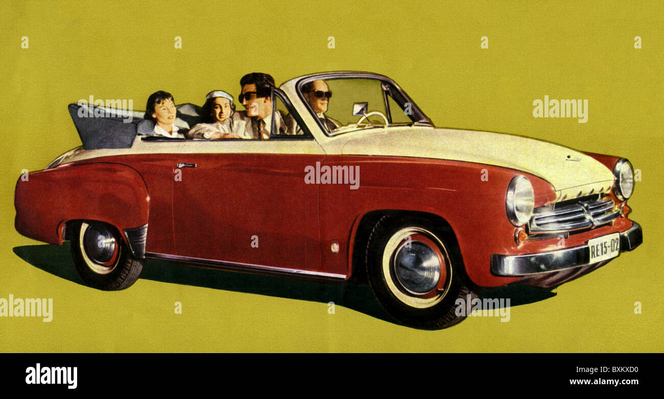 transport / transportation, car, vehicle variants, Wartburg Cabriolet with open folding top, made by VEB Automobilwerk - Stock Image