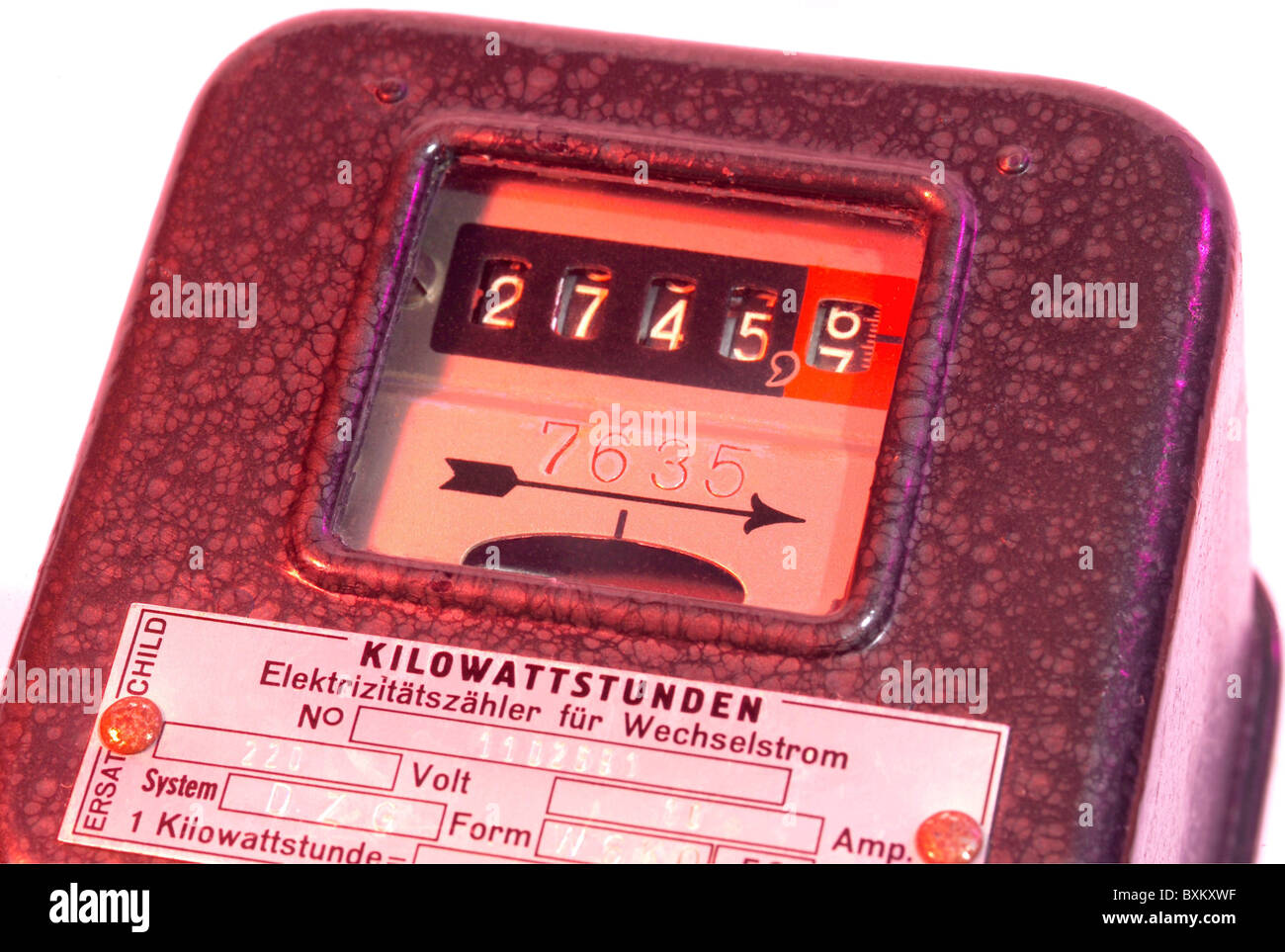 energy, electricity, electric meter, Germany, 1960, 1960s, 60s, 20th ...