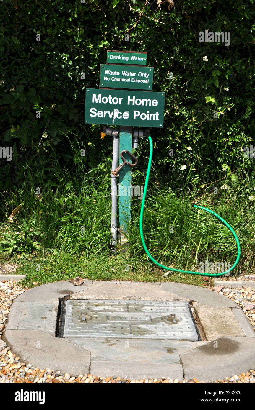 Caravan park water tap and waste water point for motorhomes, UK - Stock Image