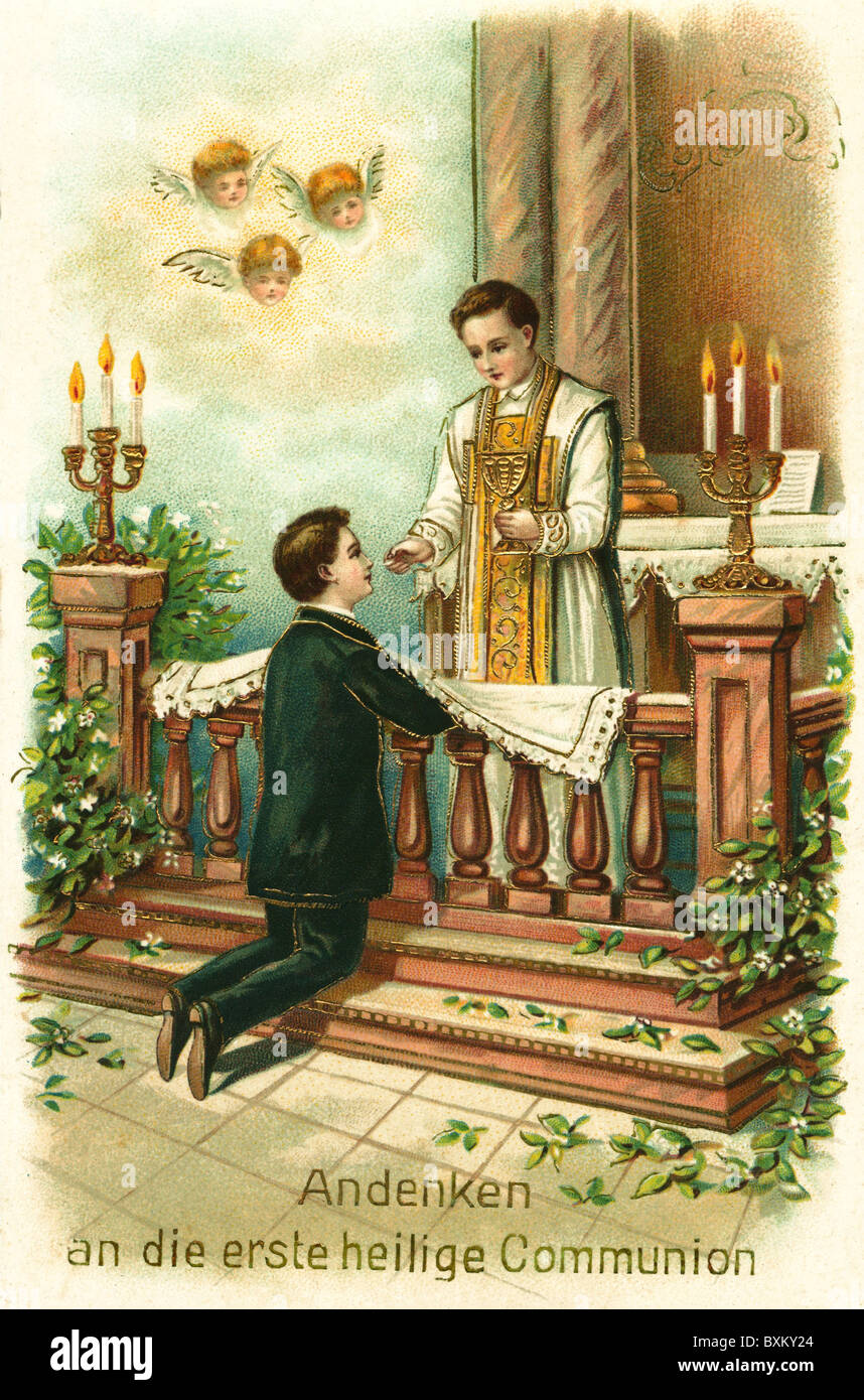 religion, Christianity, memento of the first communion, priest at altar, Germany, circa 1900, Additional-Rights - Stock Image