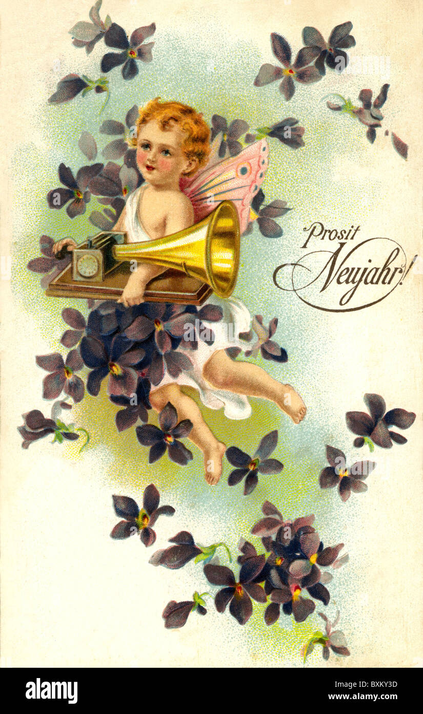 kitsch souvenir greetings card happy new year little angel with gramophone lithograph picture postcard austria 1901 historic historical 1900