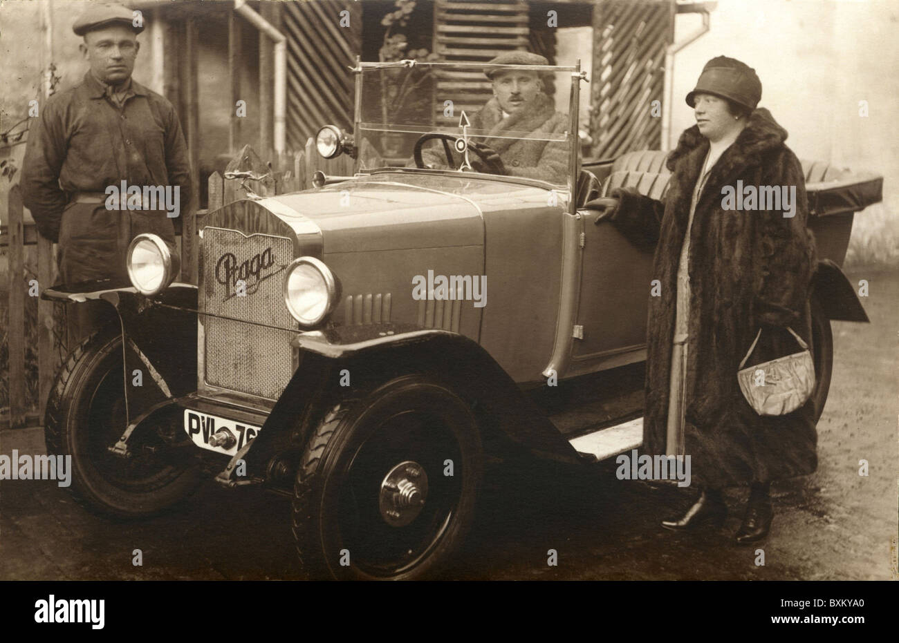 transport / transportation, car, vehicle variants, Praga, convertible, the rich woman with chauffeur, Czechia, circa - Stock Image
