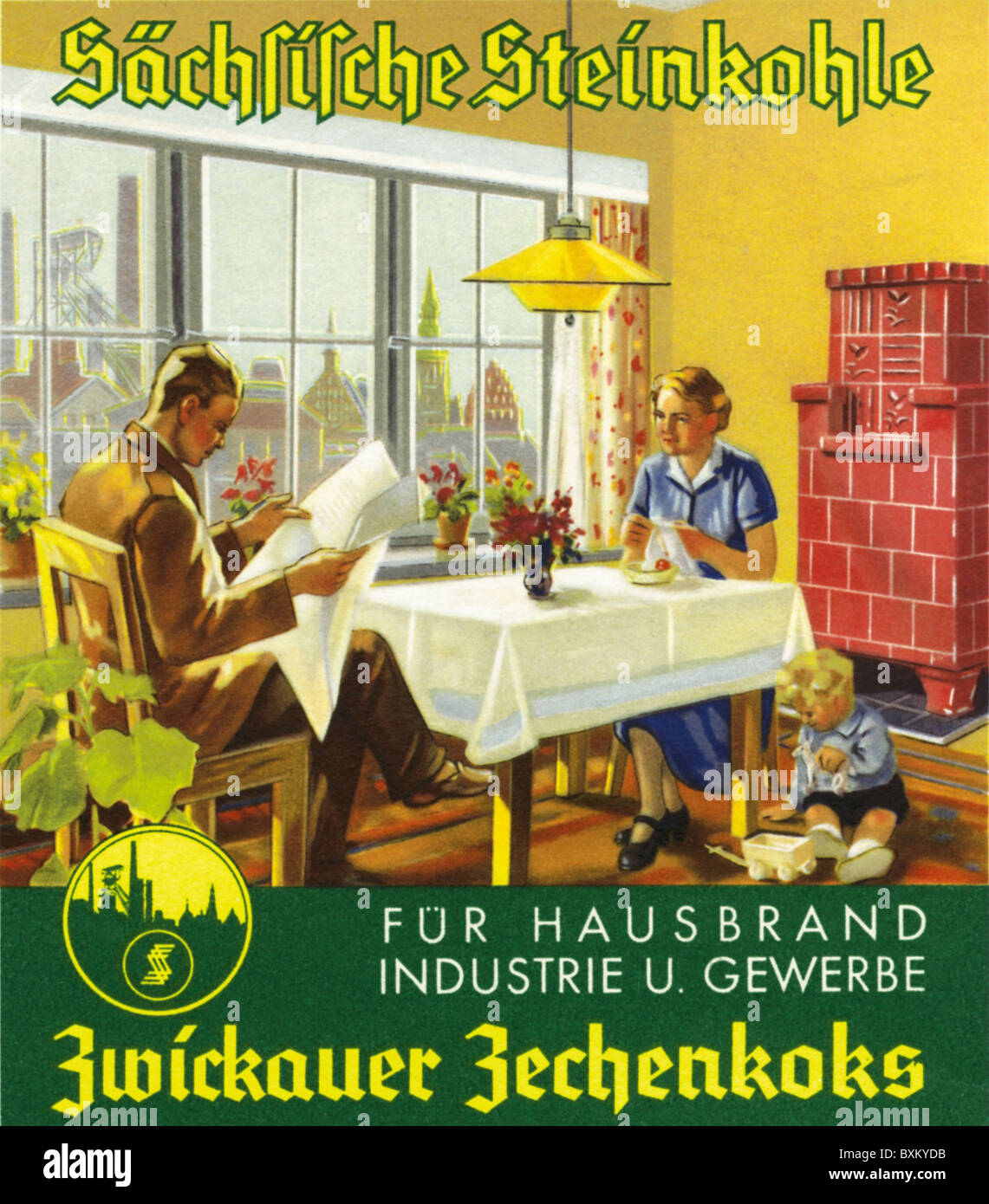 advertising, coal company, Zwickau Zechenkoks, family with tiled stove, Germany, 1938, Additional-Rights-Clearences - Stock Image