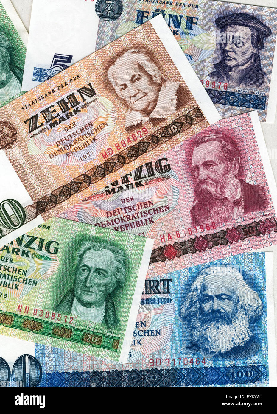 money / finance, bank notes, East Germany, different bank notes, 1971 / 1975, Additional-Rights-Clearences-NA - Stock Image