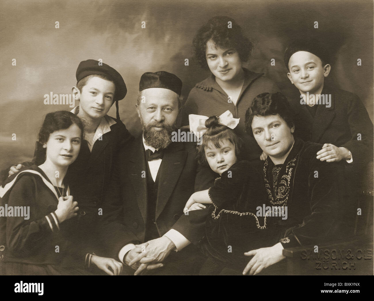 people, family, Jewish family, group picture, Switzerland, circa 1910, 1910s, 10s, 20th century, historic, historical, - Stock Image