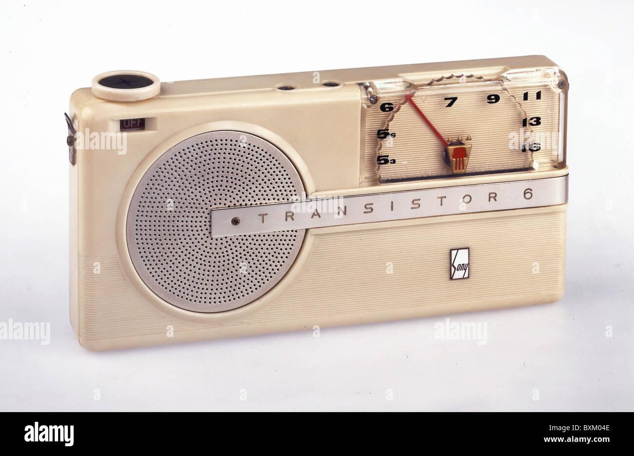 broadcast, radio sets, transistor radio, Sony TR 6, Japan, 1956, communications, technic, technics, historic, historical, - Stock Image