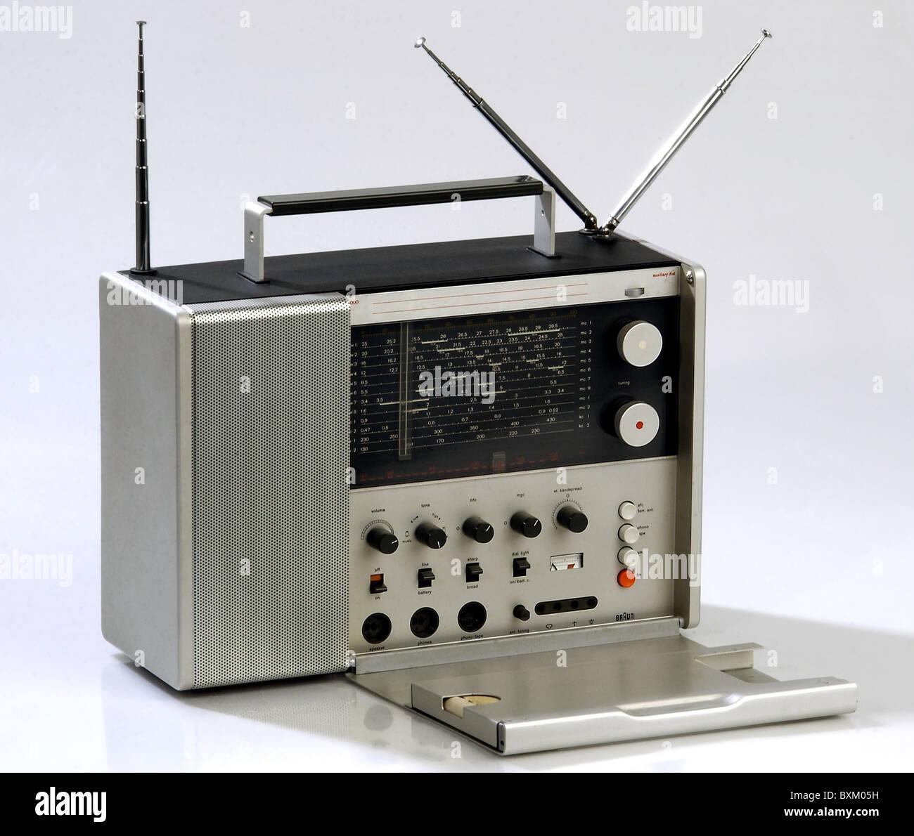 broadcast, radio, Braun radio set T 1000, Germany, 1963, communications, technic, technics, historic, historical, - Stock Image