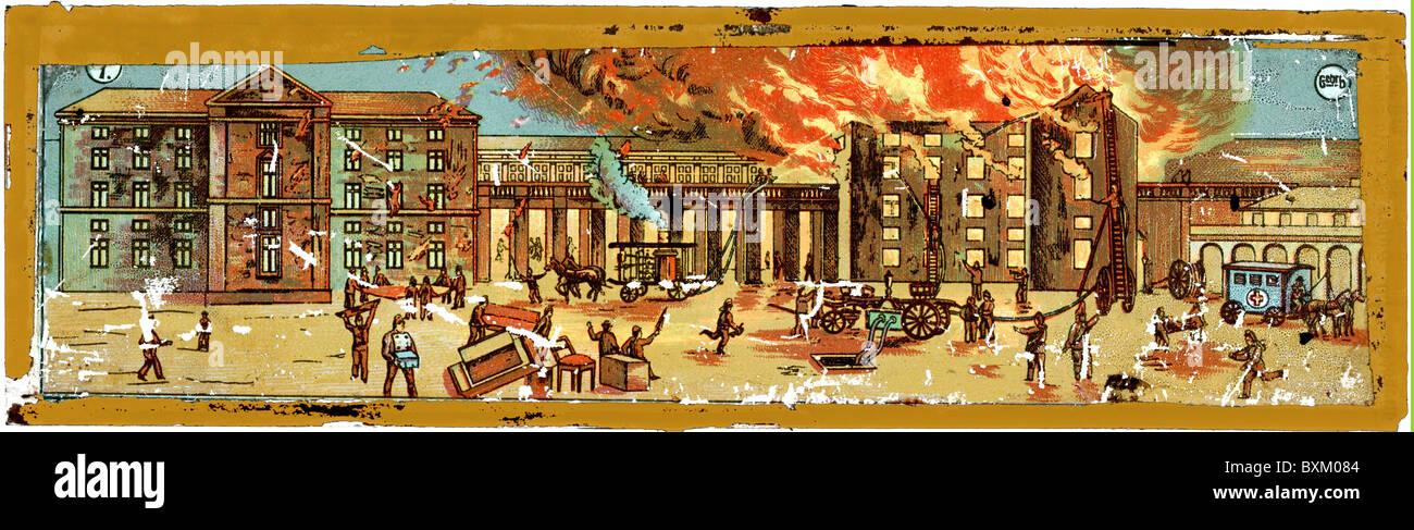 fire, fires, fire brigade in operation of a conflagration in a town, Germany, circa 1870, Additional-Rights-Clearences - Stock Image
