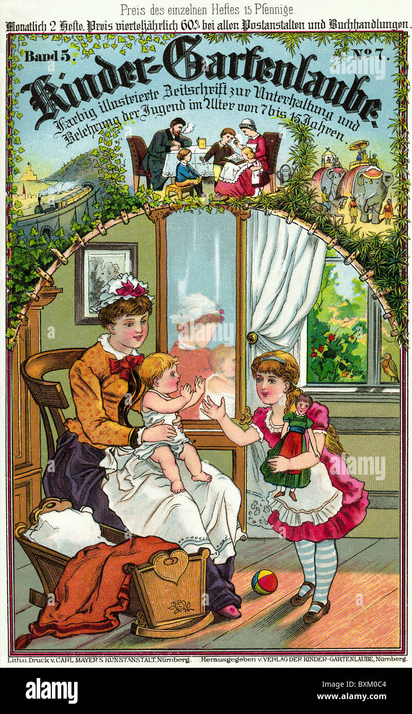 people, children, nanny with kids, illustration, lithograph, from the magazine 'Kinder-Gartenlaube', Vol. - Stock Image