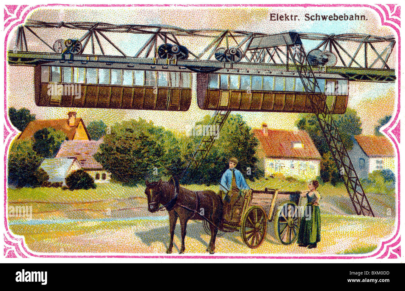 transport / transportation, railway, train, Wuppertal suspension railway, above the river Wupper, opened in 1901, - Stock Image