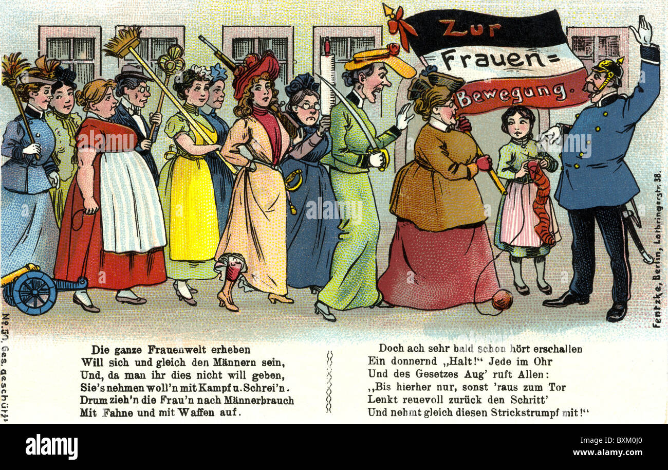 politics, demonstrations, Germany, women's movement, demonstrating women, caricature, caricatures, Germany, - Stock Image