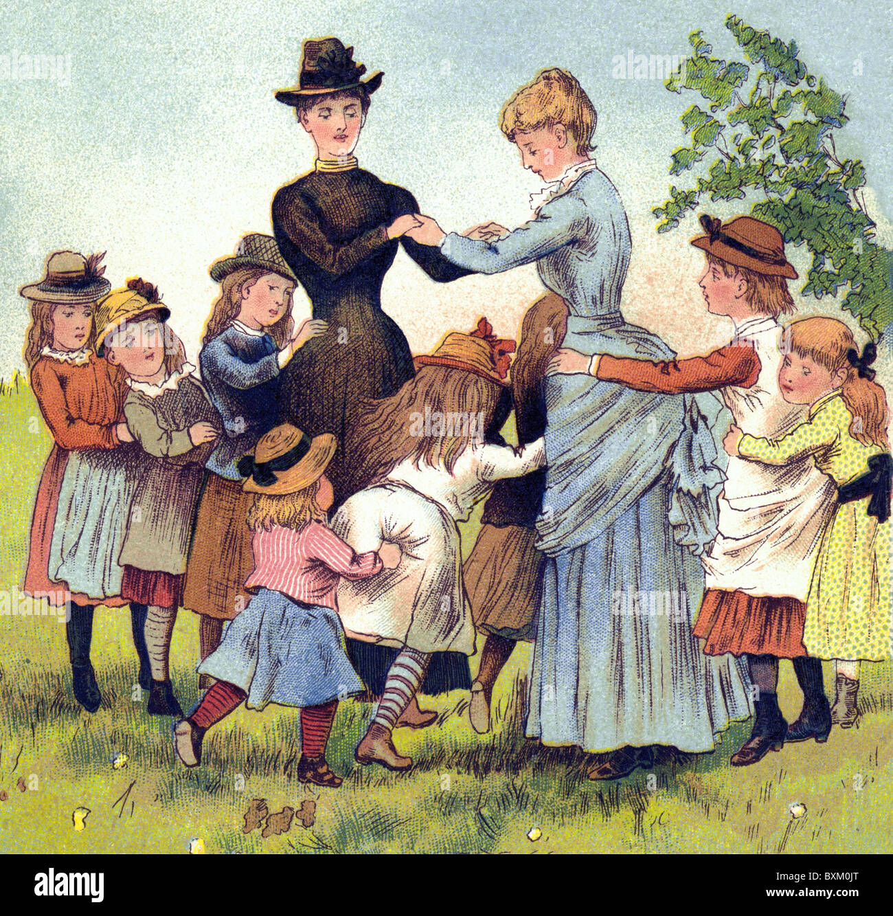 people, two women with playing children, ilustration, lithograph, Germany, 1886, Additional-Rights-Clearences-NA - Stock Image