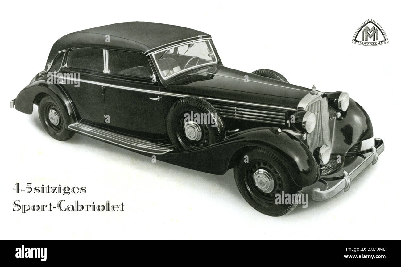 transport / transportation, car, vehicle variants, Maybach Cabriolet, Typ SW 38, made by Maybach-Motorenbau GmbH, - Stock Image