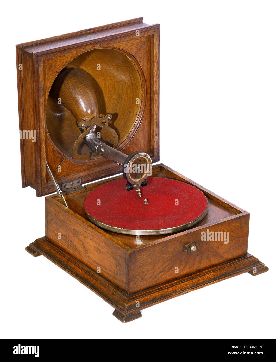 technics, audio, grammophone, made by Pathe, with reverse trumpet, 1910s, 10s, 20th century, historic, historical, - Stock Image