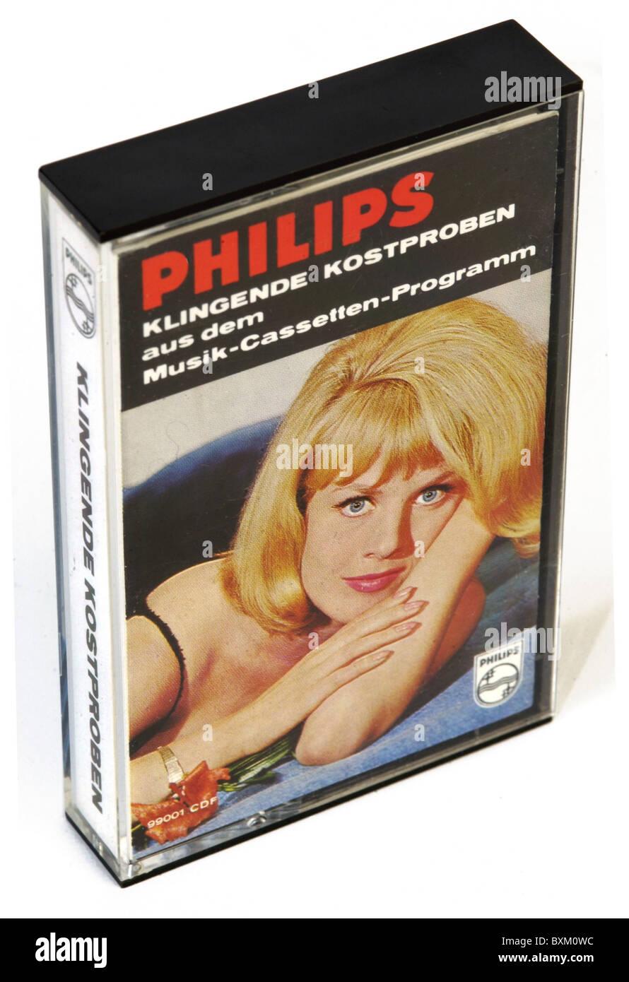 music, audio, Philips compact cassette mit: 'Klingende Kostproben aus dem Musik-Cassetten-Programm', Germany, - Stock Image