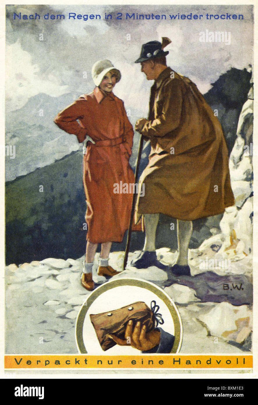 fashion, 1930s, rainwear, couple wearing Klepper raincoat during hike, Rosenheim, Germany, 1931, Additional-Rights - Stock Image