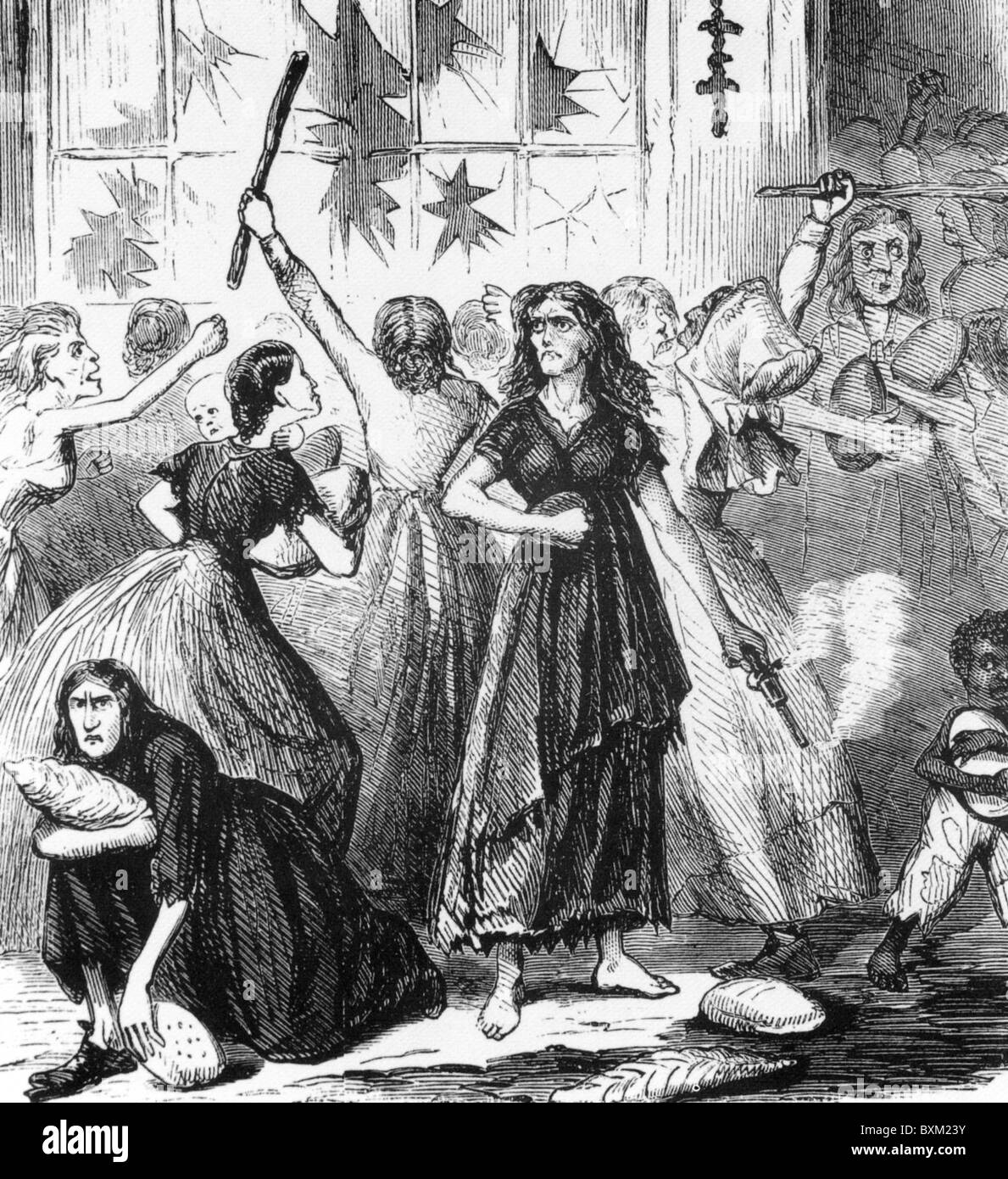 AMERICAN CIVIL  WAR Engraving in Union magazine showing bread riots among women in Richmond - Stock Image