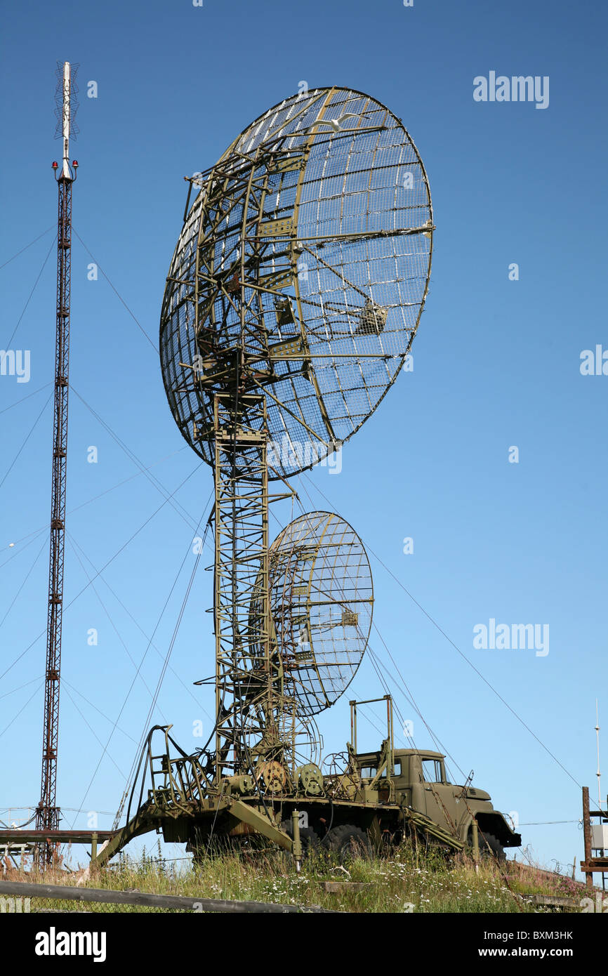 Russian military mobile radar on the Solovetsky Islands in the White Sea, Russia. - Stock Image