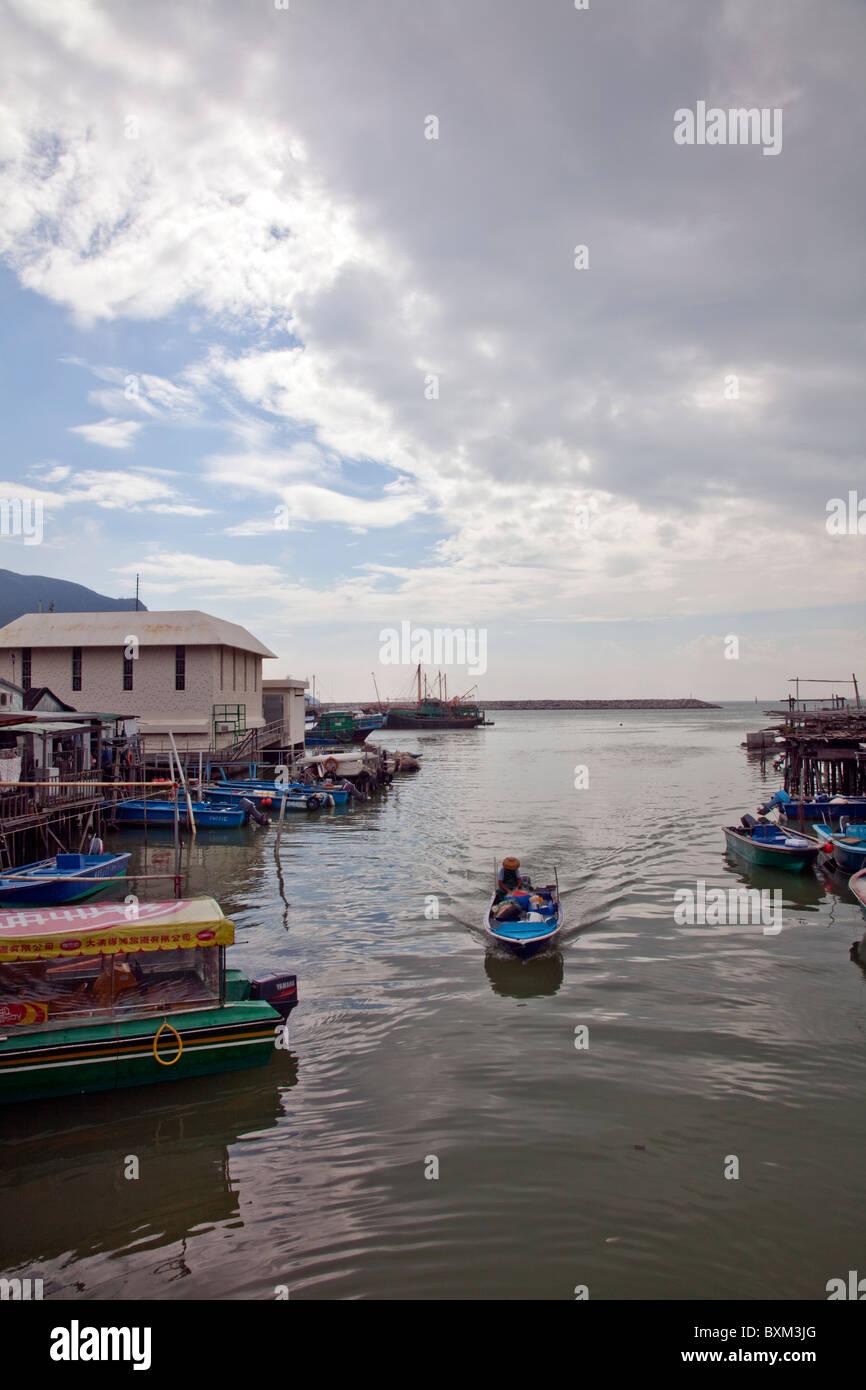 Tai O, Lantau Island, Hong Kong, China, Asia, fisherman comes home with catch - Stock Image