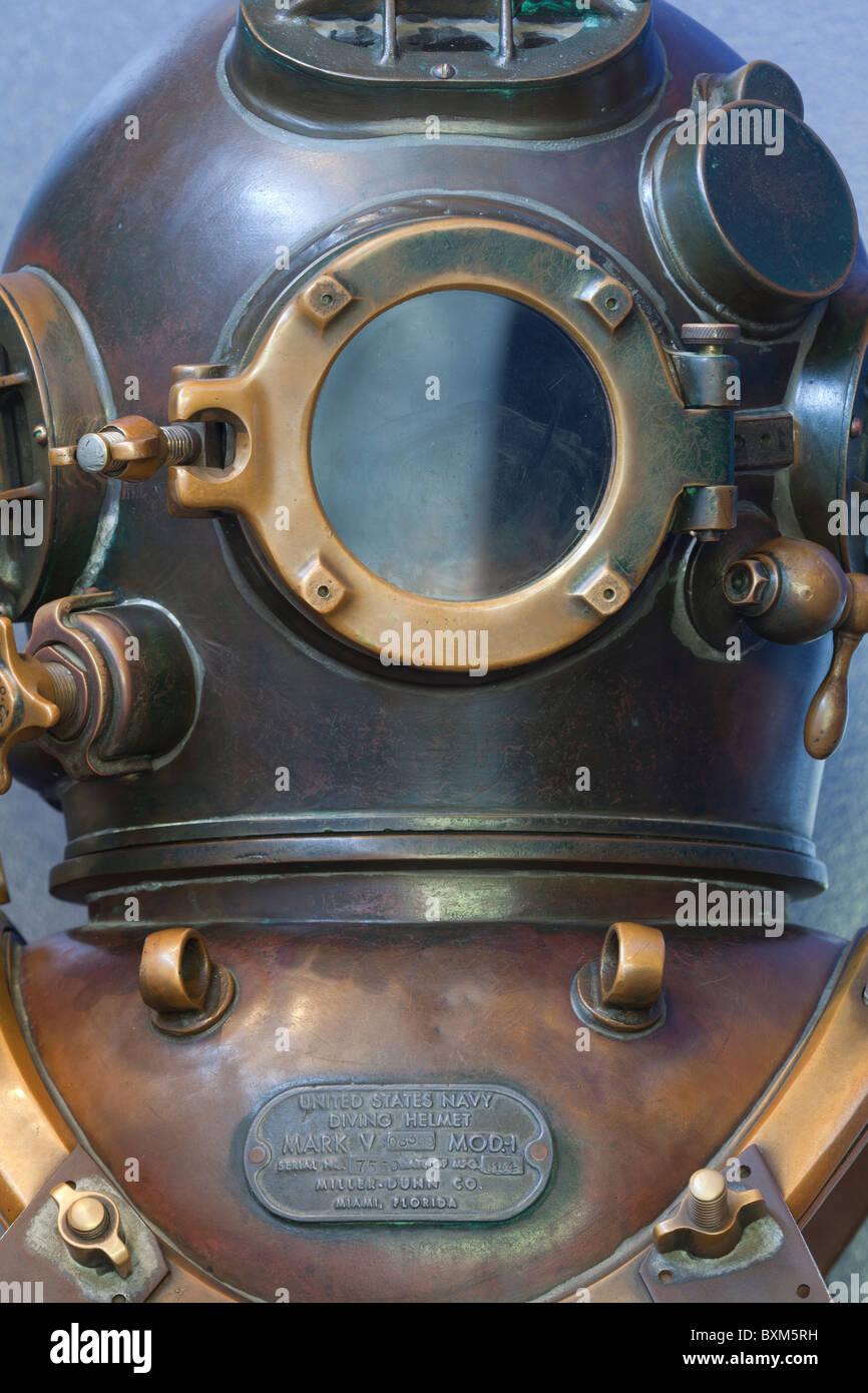 USA; Oregon; Newport; deep sea diver's helmet US Navy Mk V - Stock Image