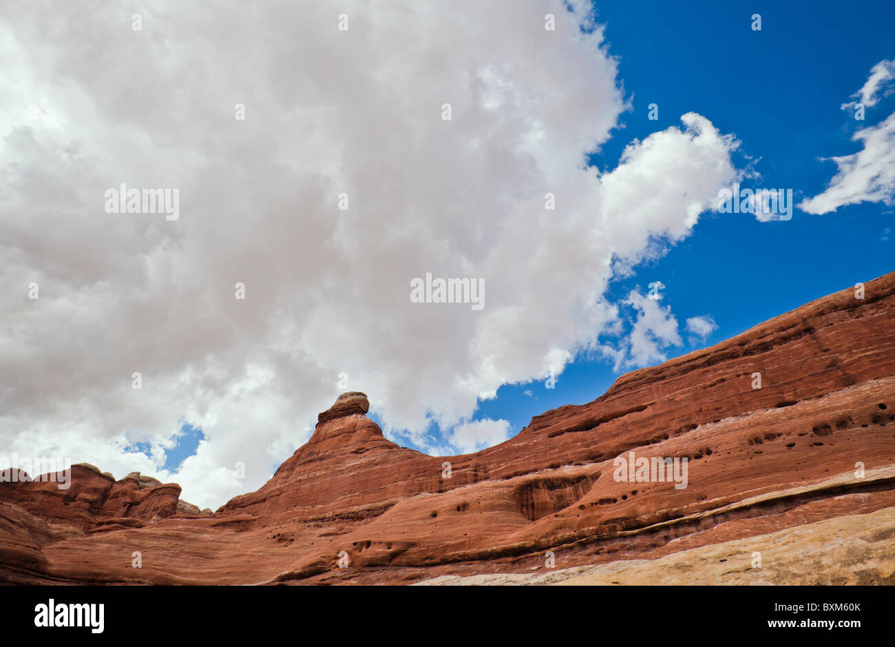 A sandstone rock fine and sky, Canyonlands National Park, Utah, USA. - Stock Image