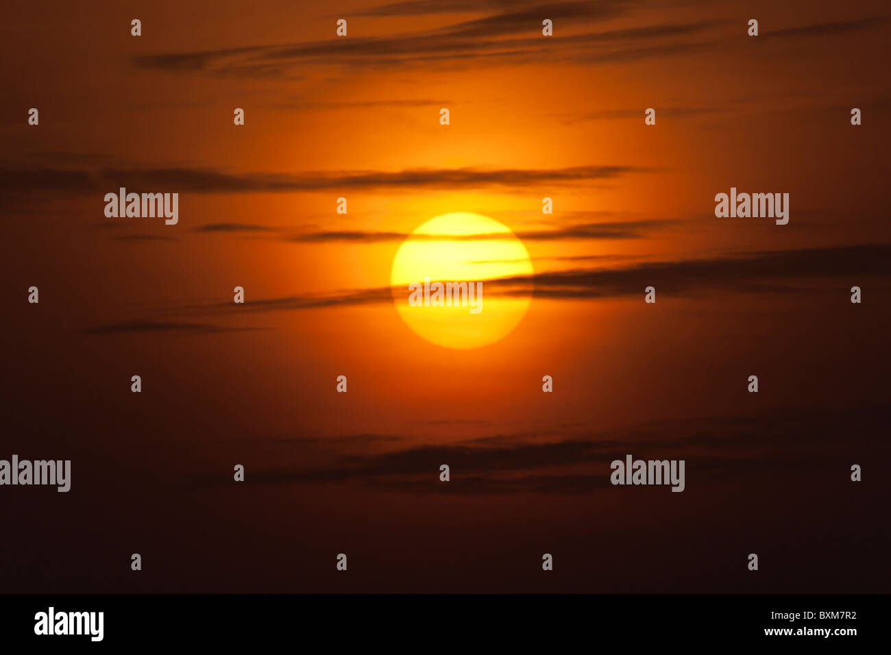 Golden Sun and Clouds - Stock Image