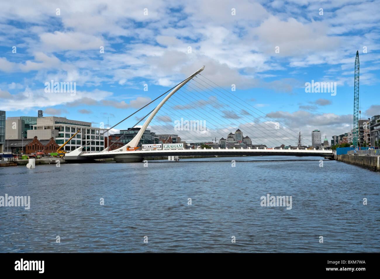 Samuel Beckett Bridge over River Liffey in Dublin Ireland Stock Photo