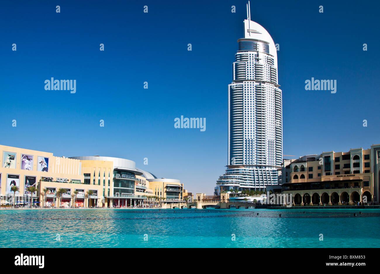 The Dubai Mall and the 5 star luxury Address Hotel and Souk al Bahar in Downtown Dubai, United Arab Emirates, UAE - Stock Image