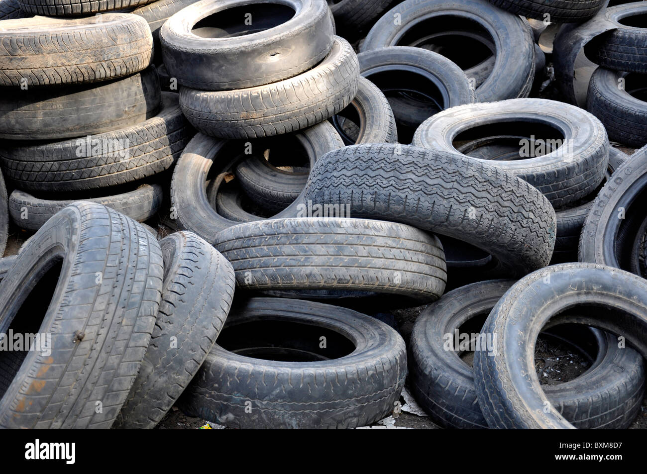 Dumped tyres - Stock Image