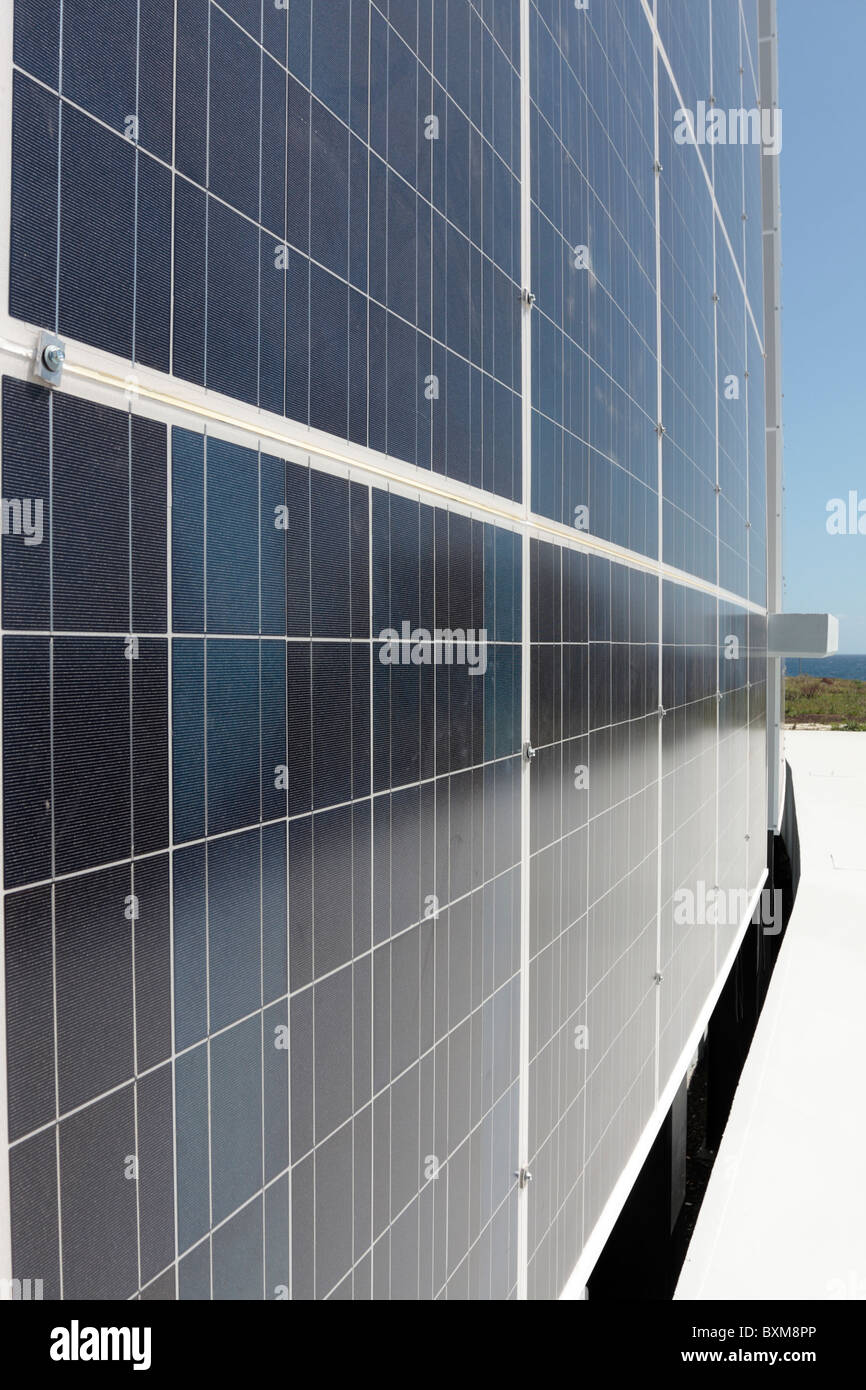 Solar Panel Wall >> A Solar Panel Wall At The Iter Bioclimatic Village In The Parque