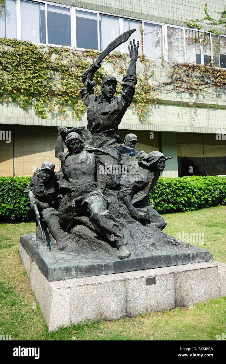 Sculpture of the Chinese people's liberation army soldiers Stock Photo