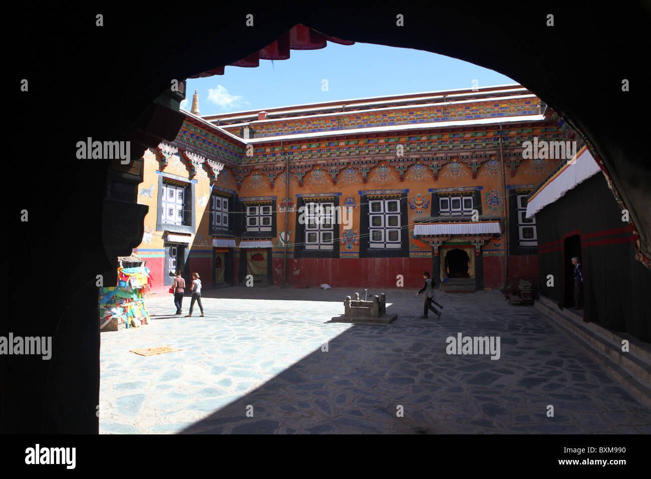 The Sakya Monastery, a Buddhist monastry about 127km west of Shigatse in Tibet. - Stock Image