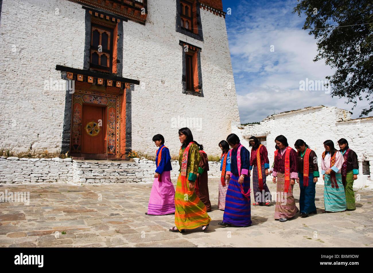 Jakar Dzong, Castle of the White Bird (1667), Jakar, Bumthang, Chokor Valley, Bhutan, Asia - Stock Image