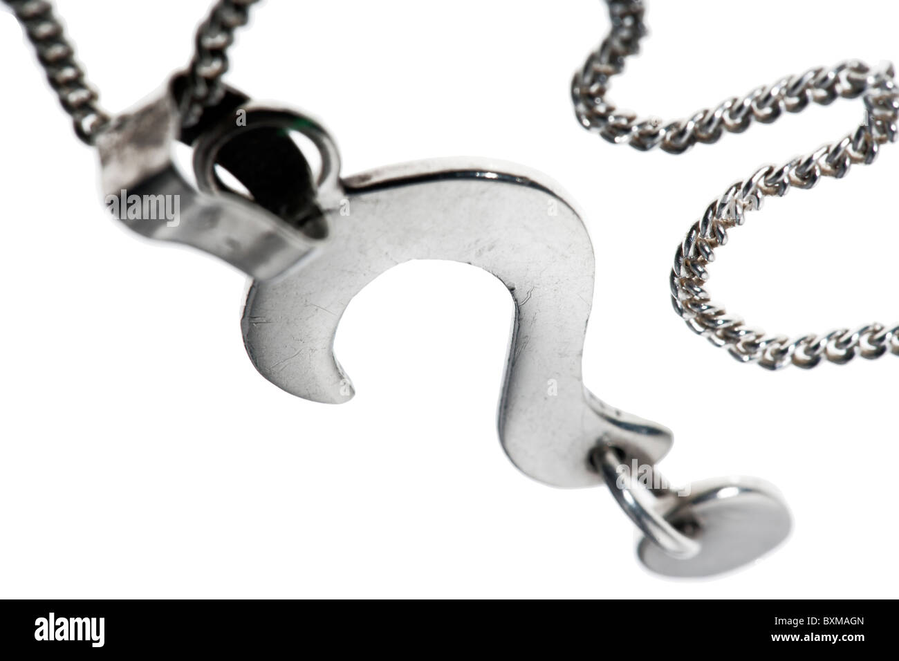 Silver question mark on a chain - Stock Image
