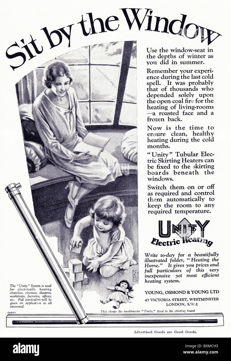 Full page advertisement for Unity tubular electric skirting heaters in women's magazine circa 1929 - Stock Image