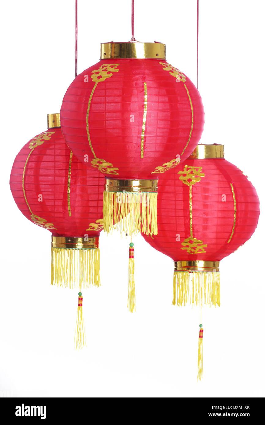 Chinese new years lanterns,Isolated on white background. - Stock Image