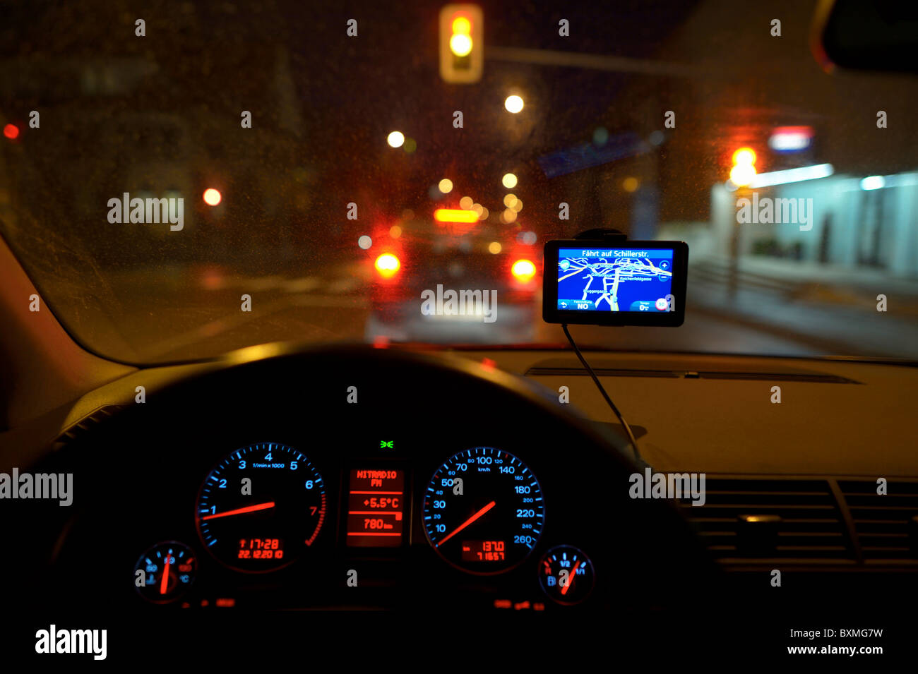 GPS route display on a windshield - Stock Image