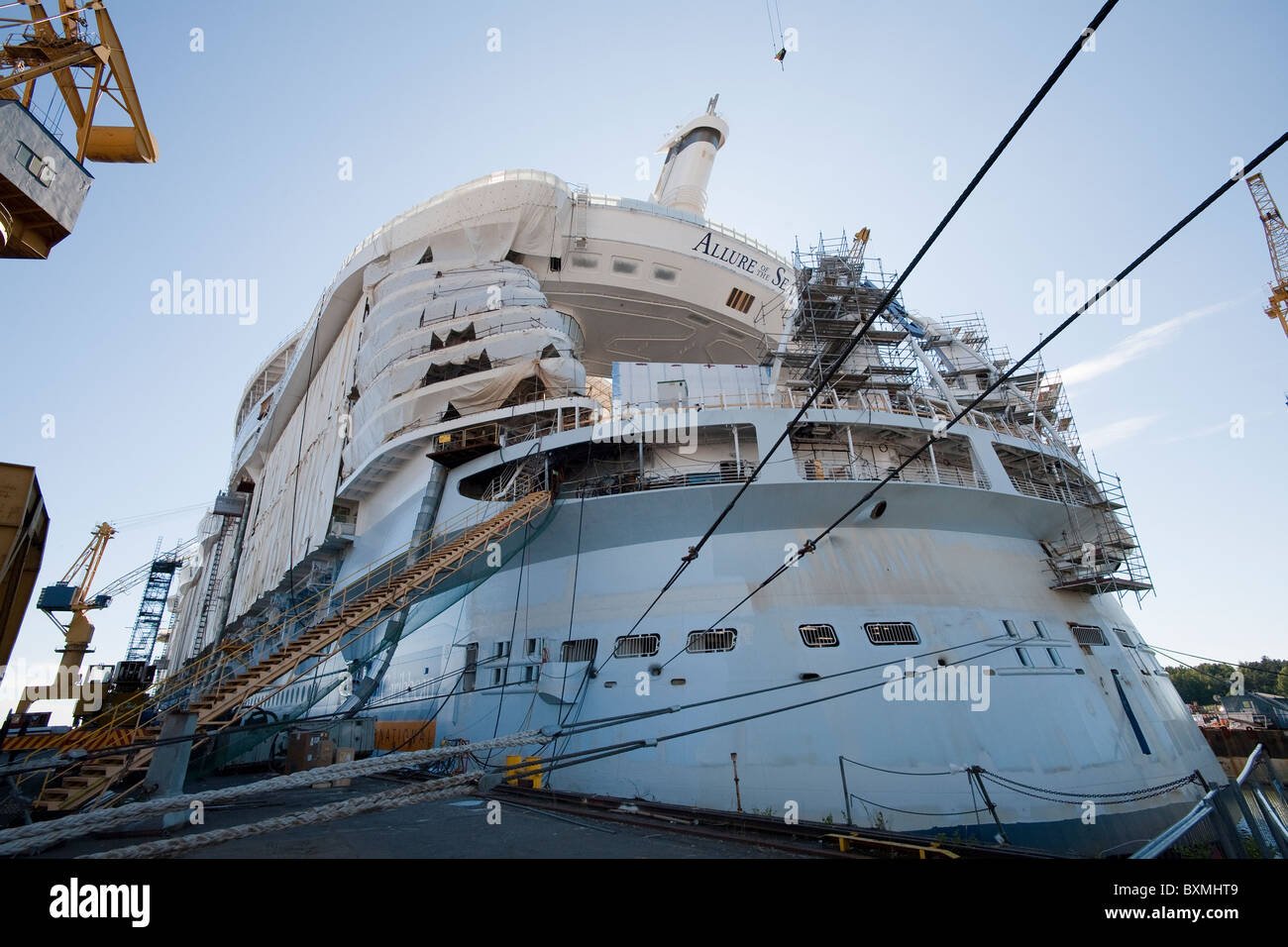 M/V Allure of the Seas under construction at STX Finland. - Stock Image