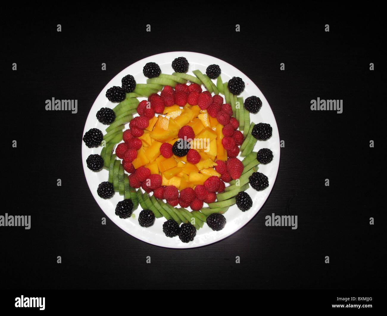 Beautiful Fruit Salad Decoration On Black Background Stock Photo
