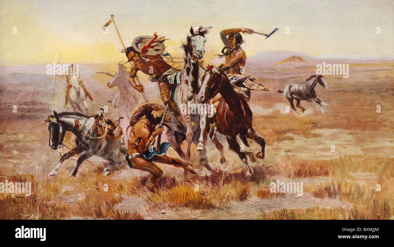 When Sioux and Blackfeet met / C.M. Russell 1902 - Stock Image