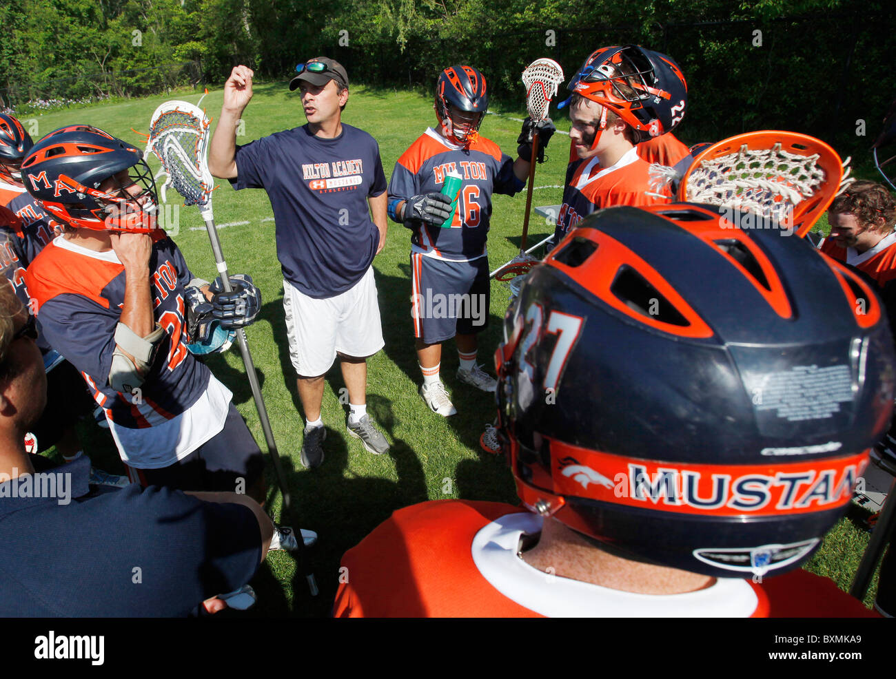 American high school lacrosse team and coach - Stock Image