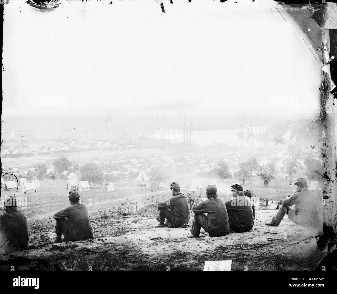 Cumberland Landing, Virginia. Federal encampment on the Pamunkey River - Stock Image