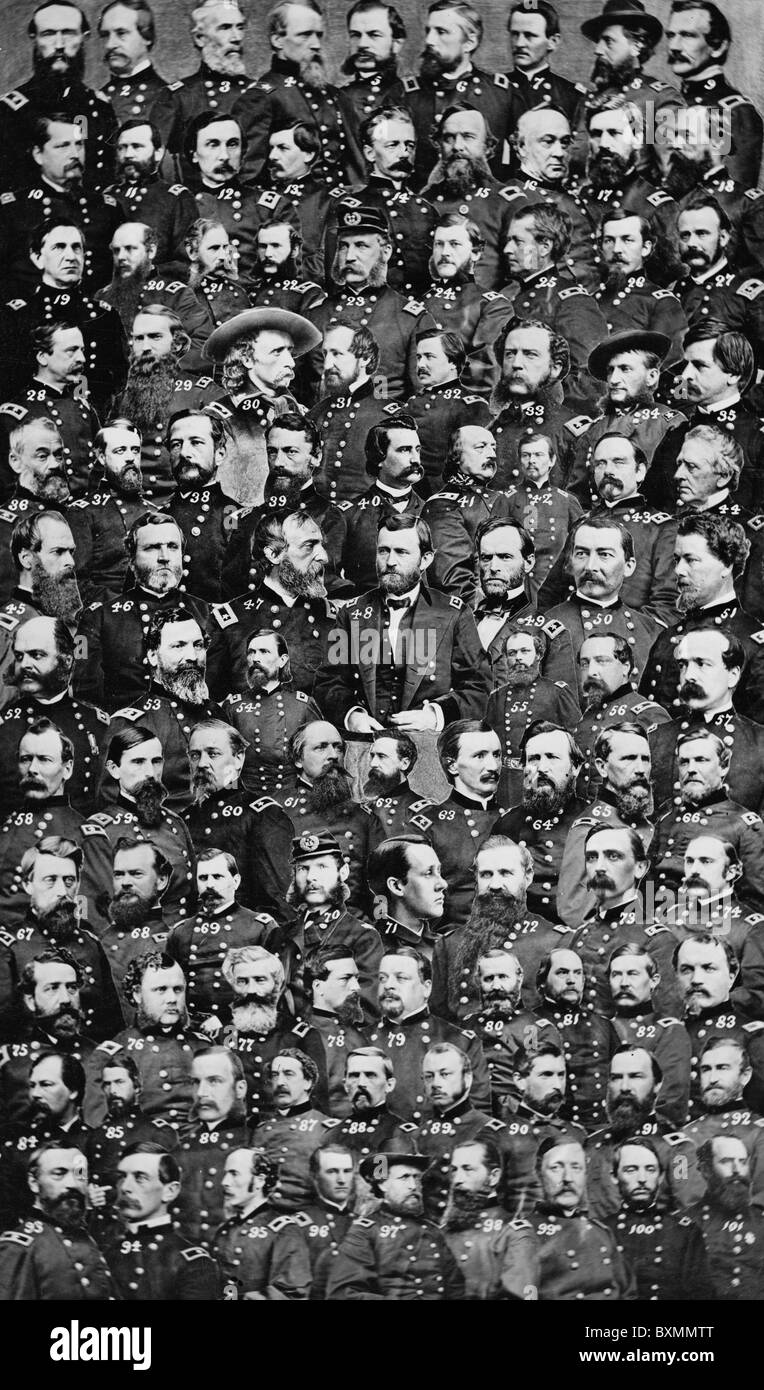 Officers of the United States Union military during the American Civil war of 1861 to 1865 union us - Stock Image
