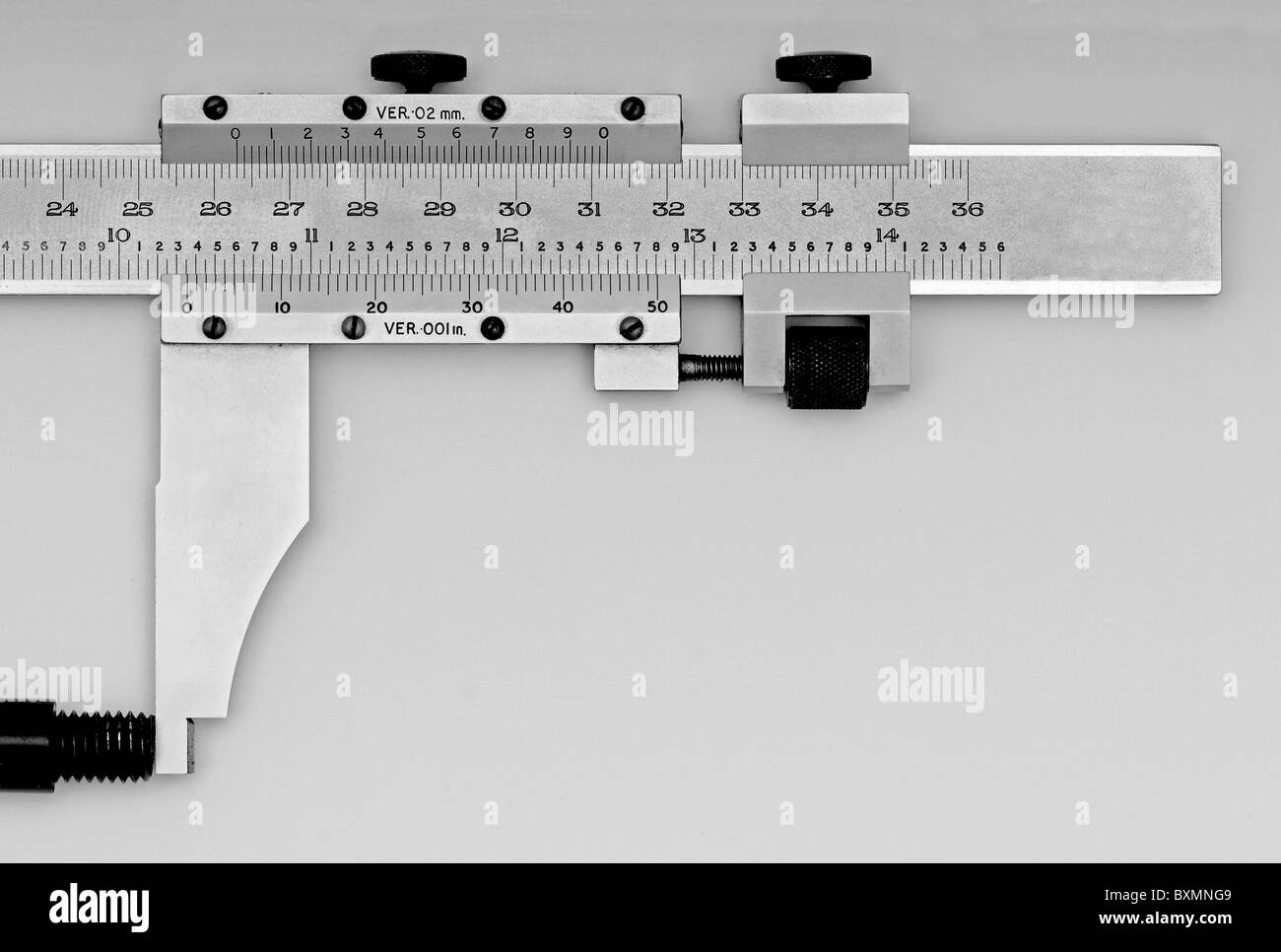 Imperial (inch) and metric scale Vernier Stock Photo